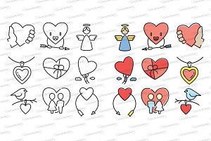 Love and wedding icons