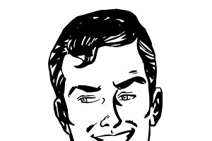 Smiling man face retro line art