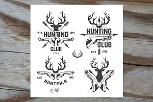 Vector set of vintage hunting emblem