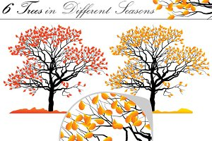 6 vector trees different seasons