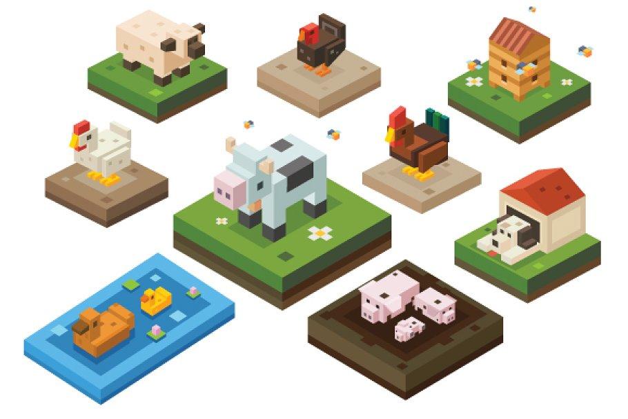 Animals on a farm.