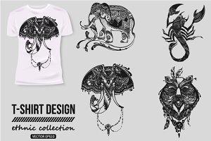Hand-drawn ethnic animals collection