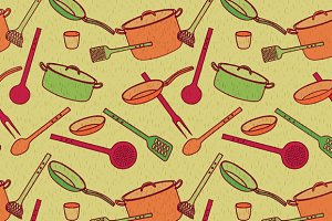 Pattern of kitchen utensils
