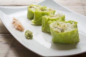 Salad roll vegetables with salad dre