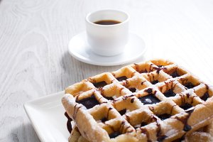 Chocolate waffles and coffee