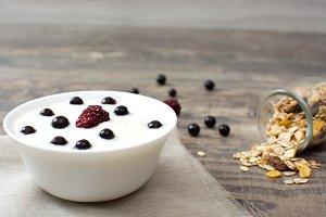 Natural yogurt with fresh berries an