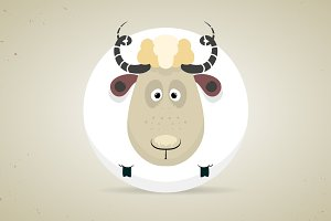 Cute cartoon round white sheep
