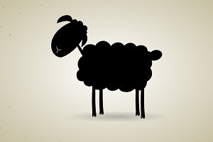 Cartoon black silhouette of sheep
