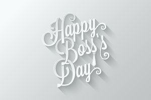 boss day vintage lettering cut paper