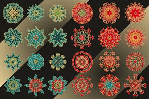 Set of 36 decorative rosettes