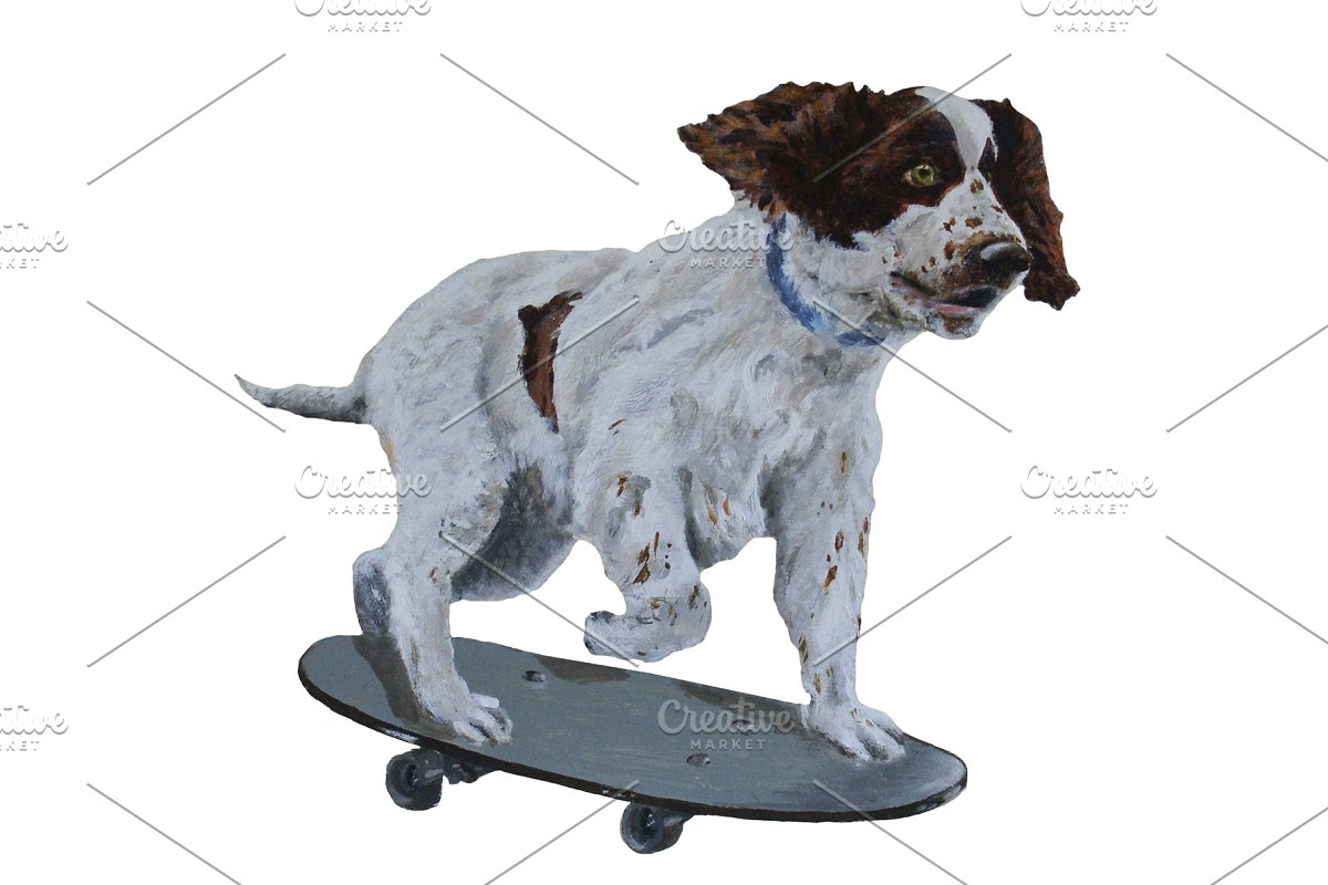 Spaniel Skating Oil Painting Clipart