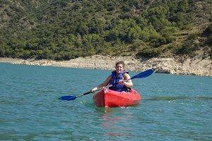 Woman and kayak