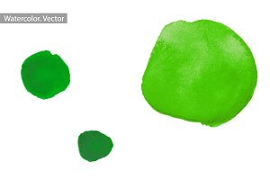 Green watercolor splashes. Vector
