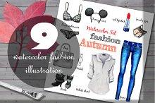 Set of classic fashion illustrations