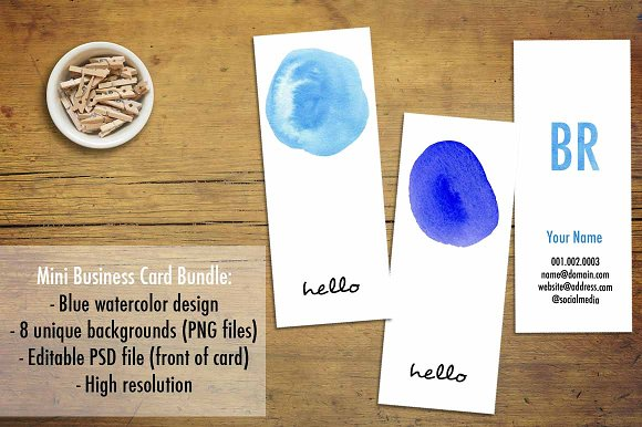 Mini Business Cards Blue Watercolor Business Card Templates - Mini business card template