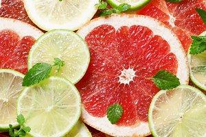 Sliced grapefruit, lemon, lime