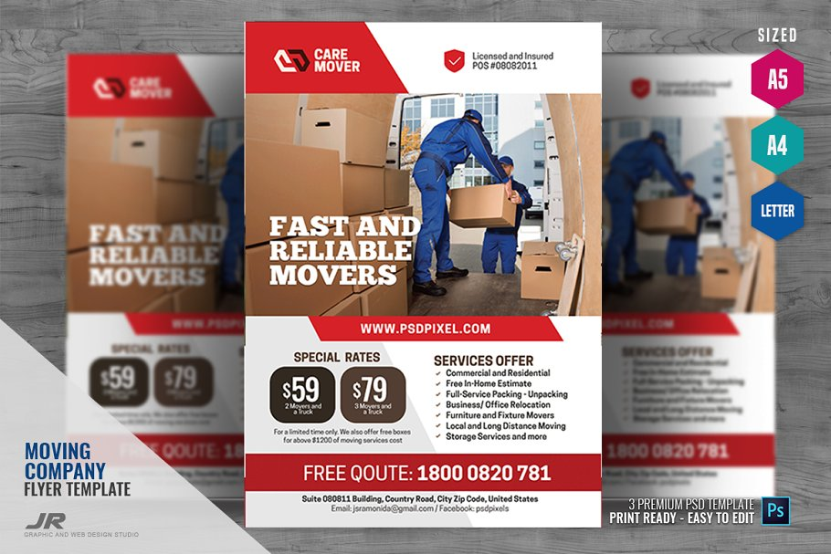 Moving and Logistics Flyer ~ Flyer Templates ~ Creative Market