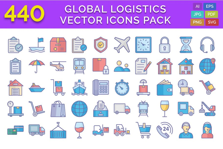440 Global Logistics Vector Icons Pa ~ Icons ~ Creative Market