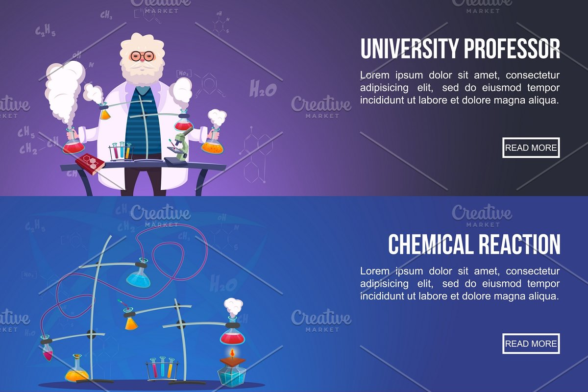 Chemistry Lab Colored Banners Set