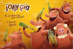 Jolly pig, vector