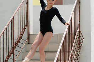 Young Beautiful Ballerina Posing On