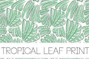 SEAMLESS TROPICAL LEAF PRINT VECTOR