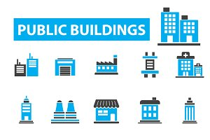 20 public buildings icons