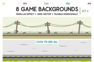 8 Game Backgrounds Set 4