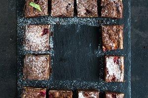 Dark chocolate and raspberry brownie