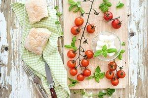 Ciabatta bread with cherry tomatoes