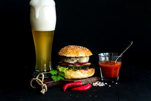 Homemade burger and light beer