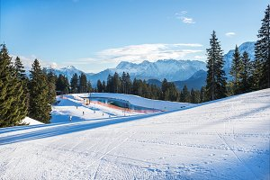 Skiing slopes in Bavarian Alps