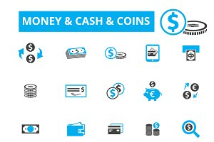20 money, cash, coins icons
