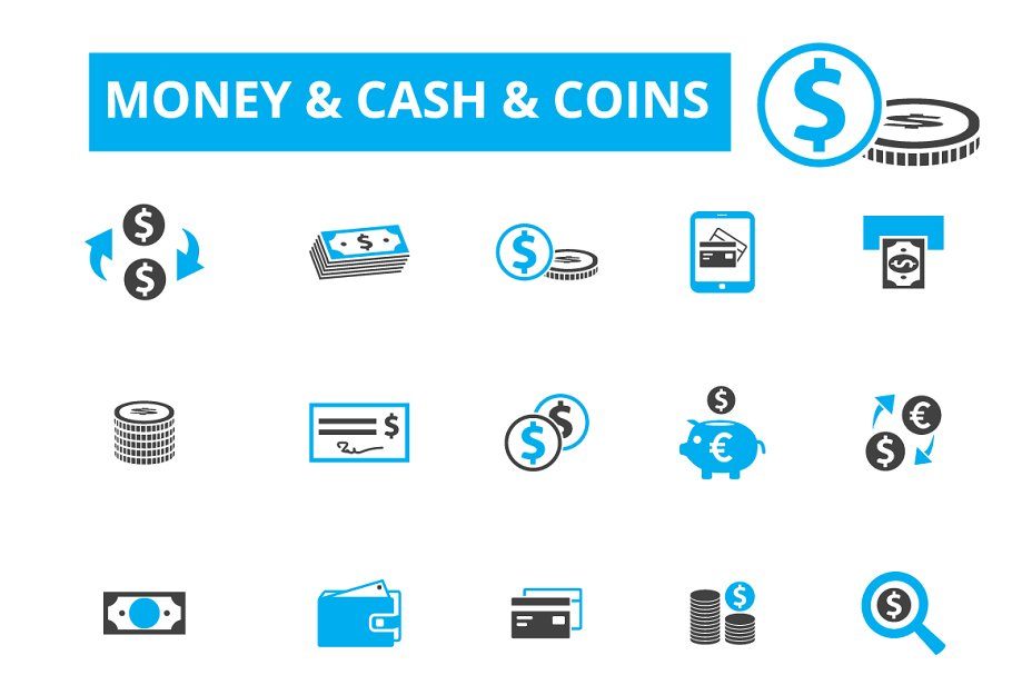 20 money, cash, coins icons