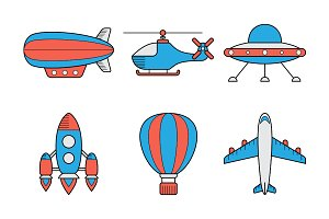 Icon set of aero vehicles.