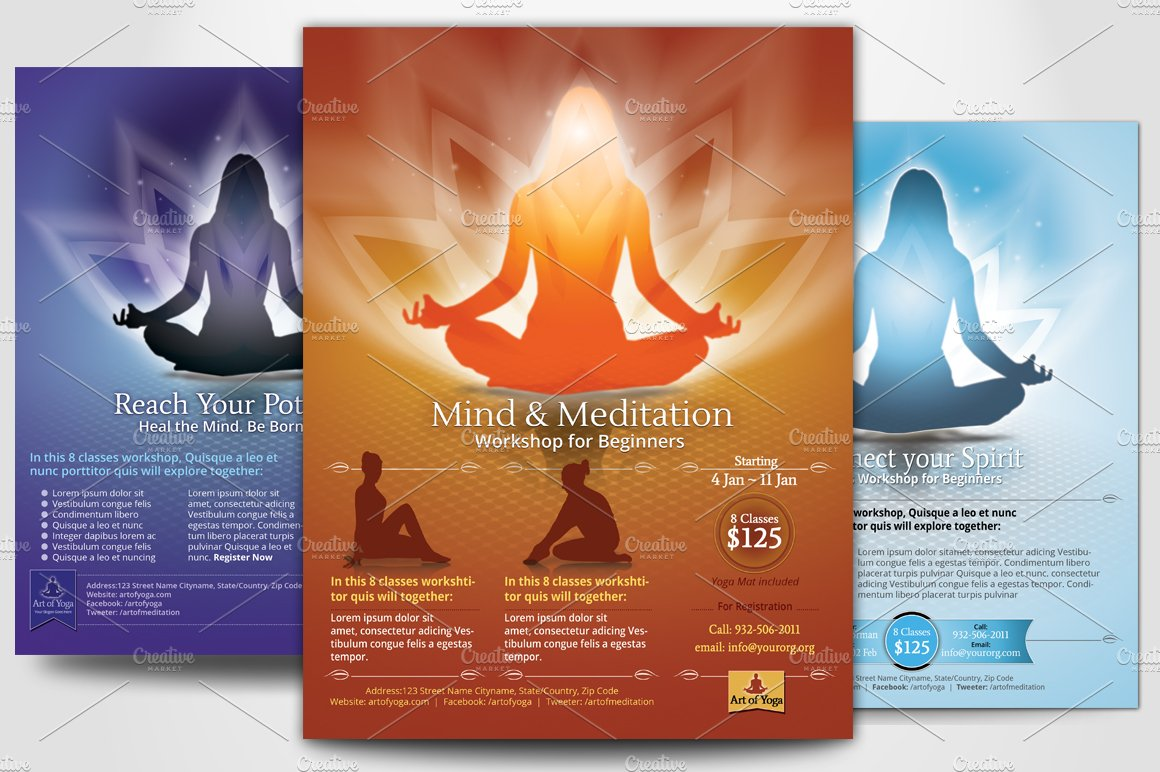 Simple yoga meditation flyers flyer templates creative for Yoga brochure templates