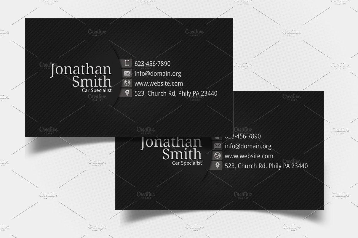 Black grey personal business card business card templates black grey personal business card business card templates creative market colourmoves Images