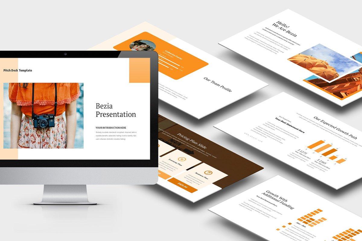 Bezia : Orange Pitch Deck Powerpoint