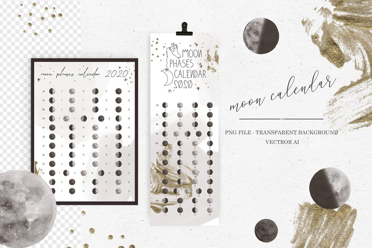 Moon Phases Calendar 2020.Moon Phases Calender 2020 Illustrations Creative Market