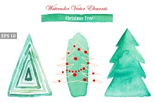 Watercolor Vector Christmas Trees