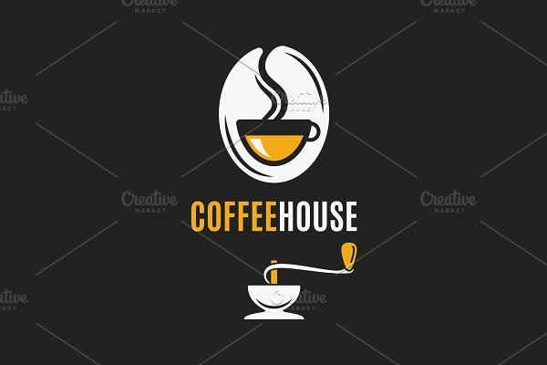 Coffee bean logo with coffee cup.
