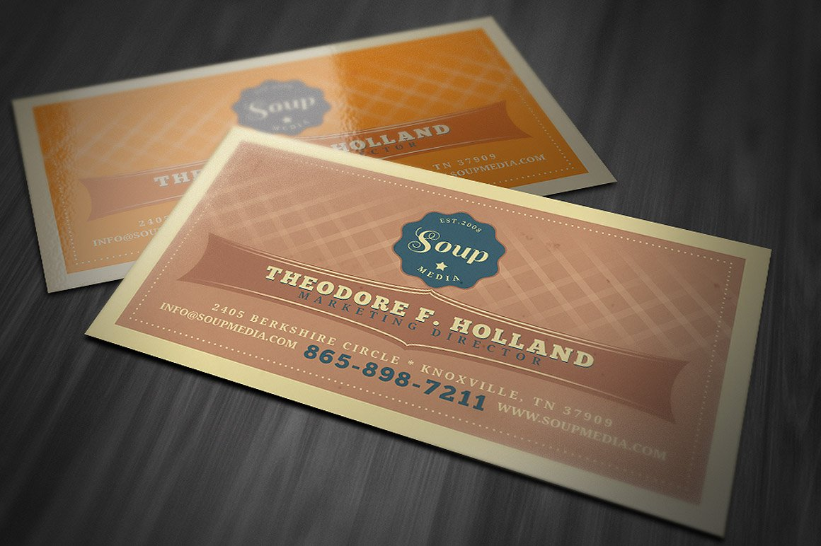 Retro business card template business card templates creative market reheart Gallery