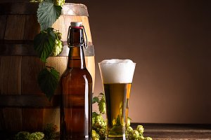 Beer glass and bottle