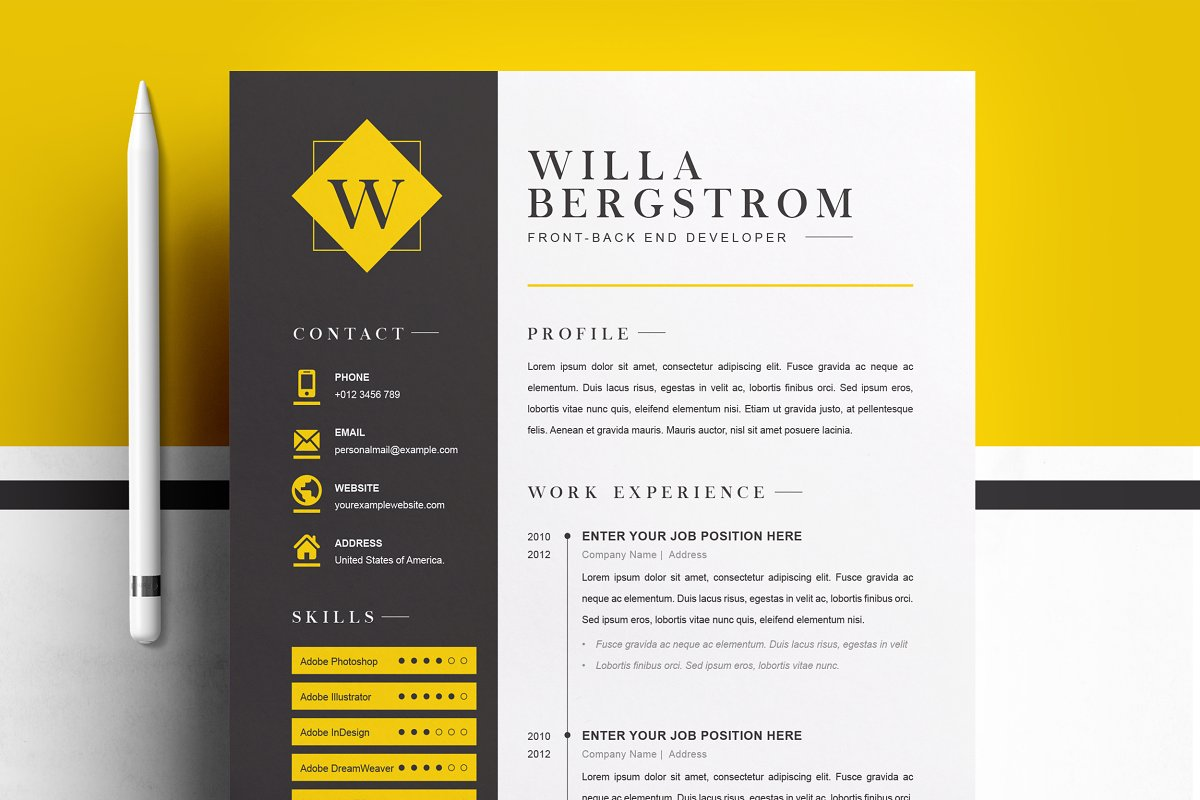Minimal Yellow Resume Template / CV ~ Cover Letter Templates ...
