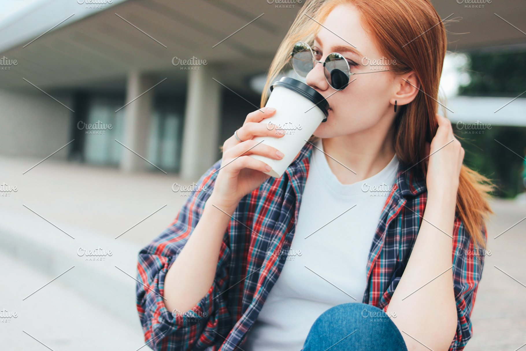 c3abadfc5474 Attractive redhead girl with coffee ~ People Photos ~ Creative Market