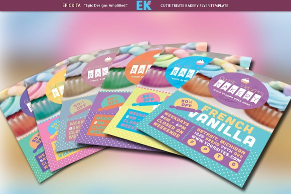 Cutie Treats Bakery Flyer Template Flyer Templates Creative Market - Bakery brochure template