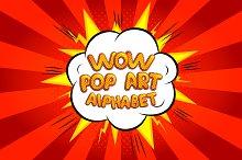 Wow pop art comic font alphabet