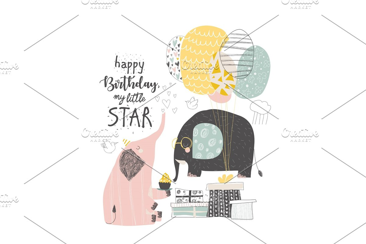 Greeting Birthday card with cute