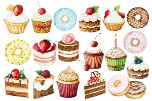 Watercolor sweet cakes and donuts!