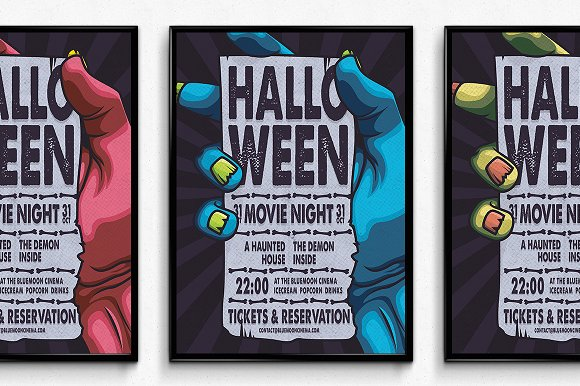 halloween movie night poster flyer templates creative market